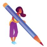 Personnage avec un stylo